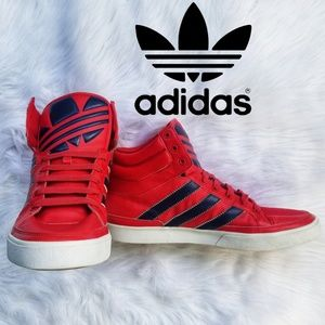 Adidas Mens High Top Shoes Sz 13 Red and Navy Blue